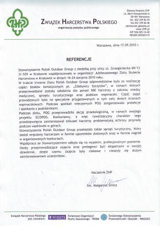 Referencje Związku Harcerstwa Polskiego dla Polish Outdoor Group